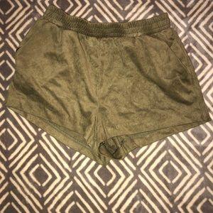 Forever 21 velvet green shorts